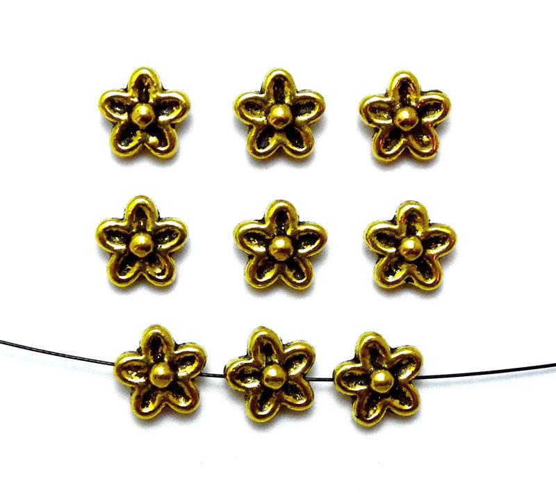 Antique Gold Alloy Metal Flower Beads