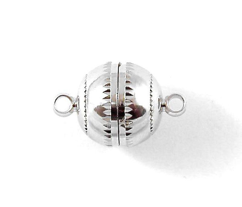 Silver Plated Magnetic Ball Clasp with Grooved Edge - Large