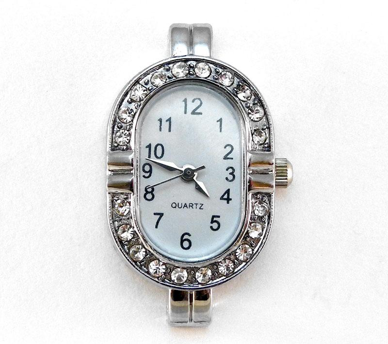 Oval Shaped Clear Rhinestone Watch Face