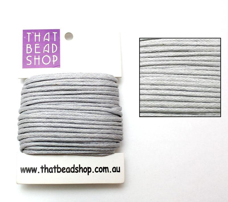 2mm Waxed Cotton Cord - Pale Silver