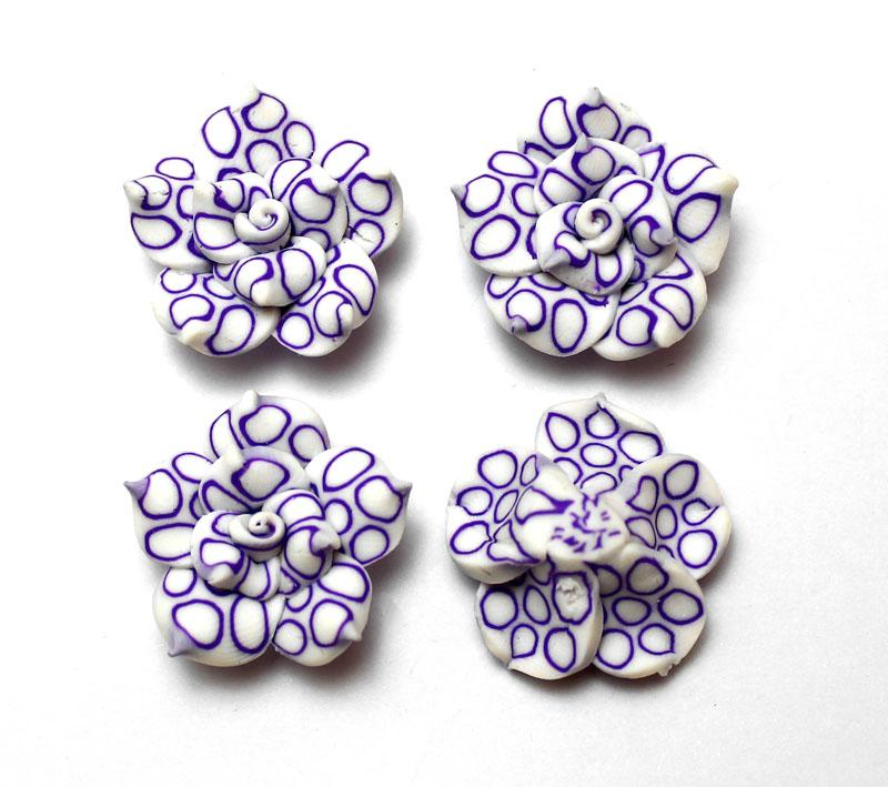 Purple Patterned White Rose- 2 pack