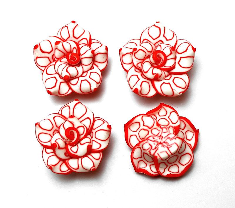 Red Edge Patterned White Rose - 2 pack