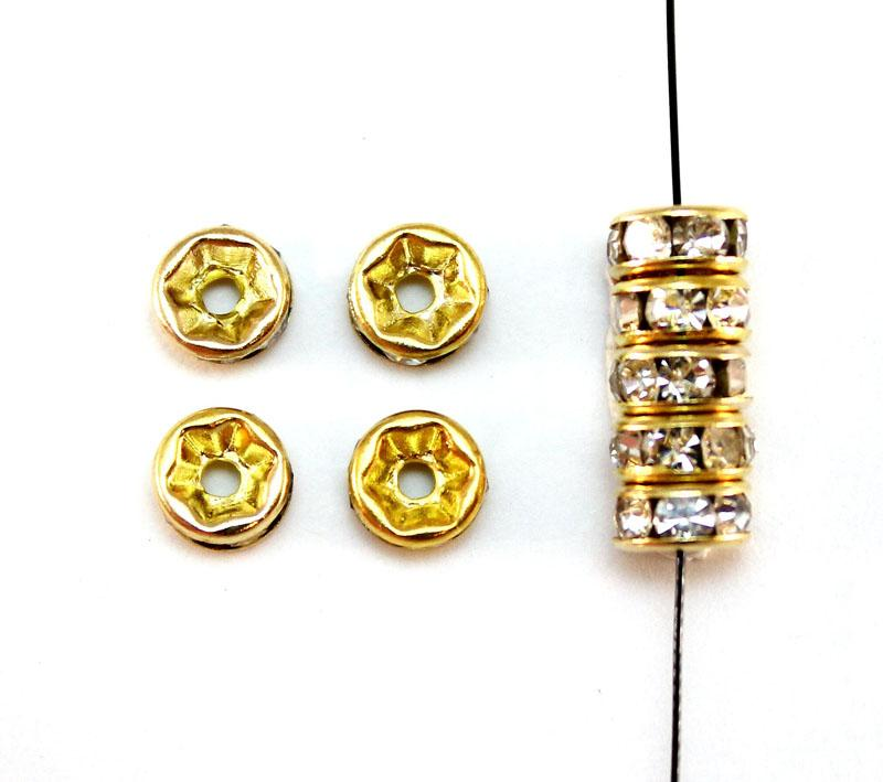 Rhinestone Gold Plated 6mm Rondelle Spacer