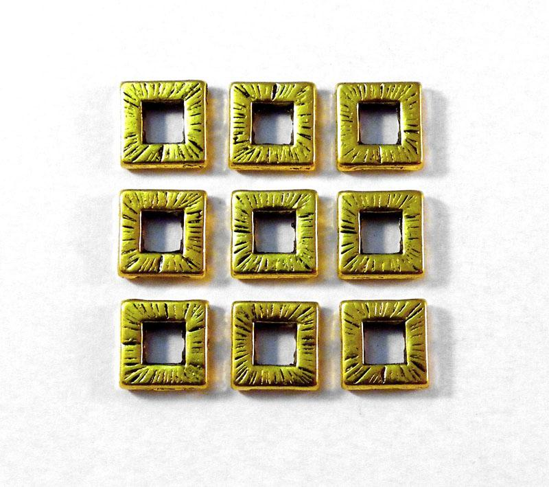 10mm Square Donut Metal Bead - Antique Gold