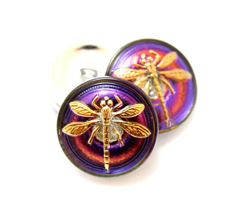 18mm Purple Pink Dragonfly Button