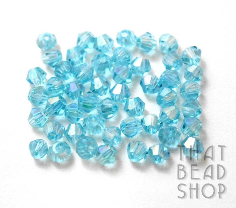 4mm Light Aqua AB Crystal Bicone