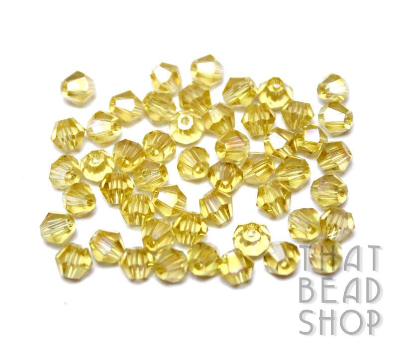 4mm Light Gold AB Crystal Bicone