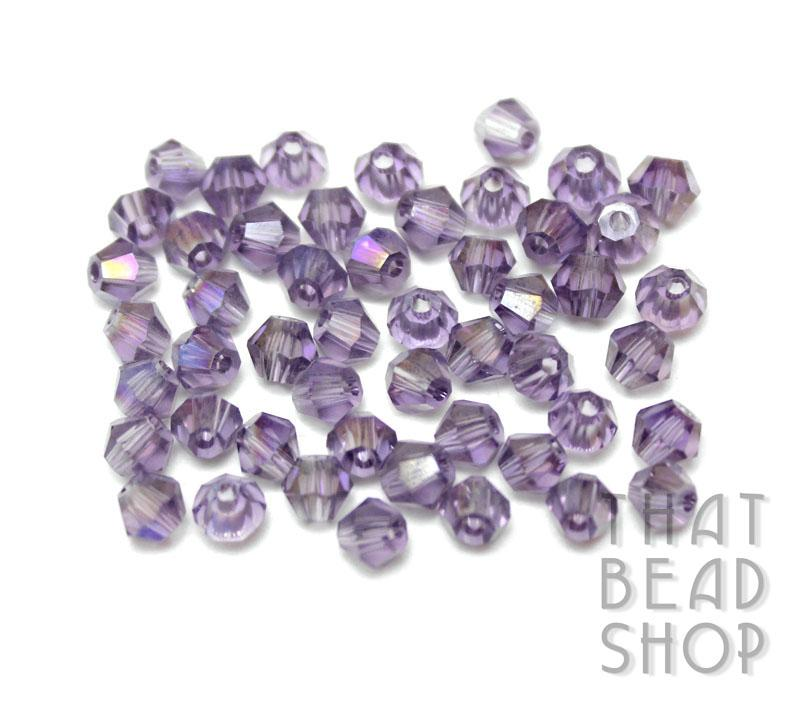 4mm Light Purple AB Crystal Bicone