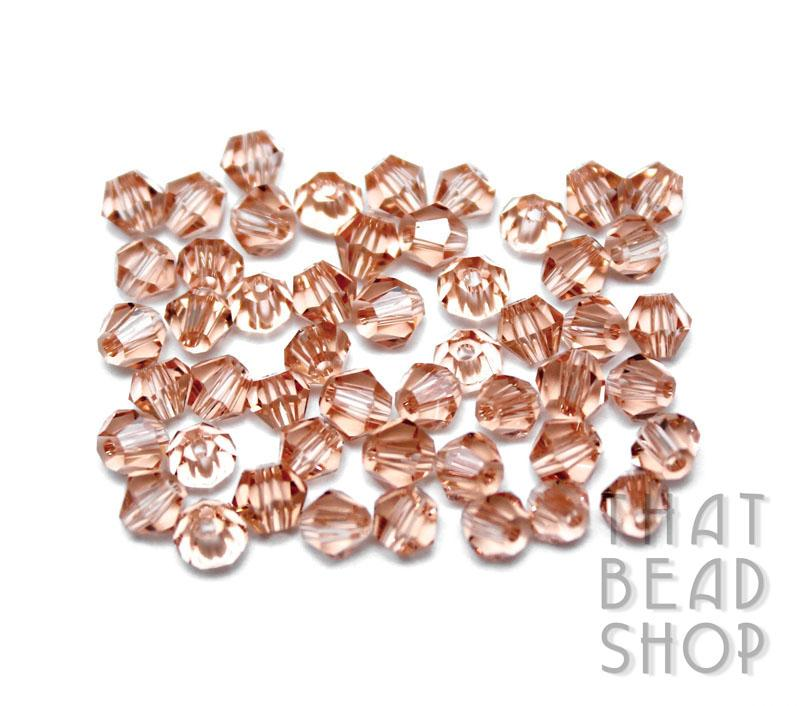 4mm Peach Crystal Bicone