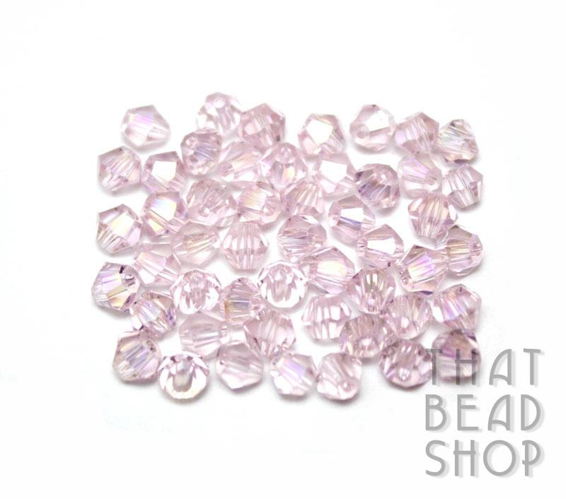 4mm Pink AB Crystal Bicone