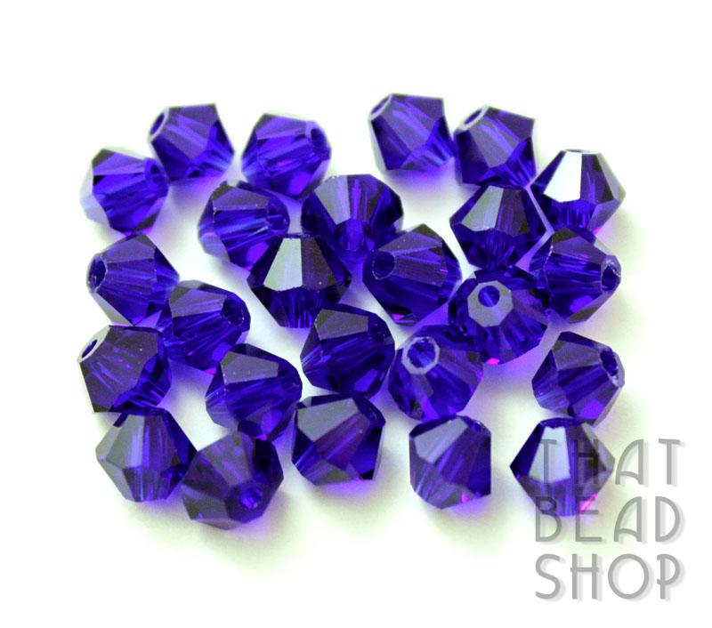 6mm Cobalt Crystal Bicone