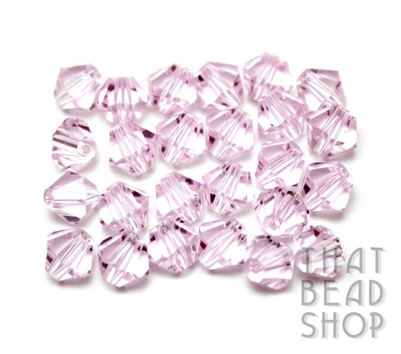 6mm Pink Crystal Bicone