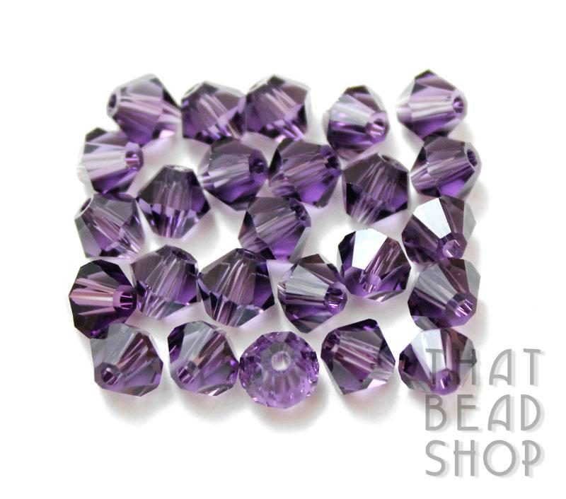 6mm Purple Crystal Bicone