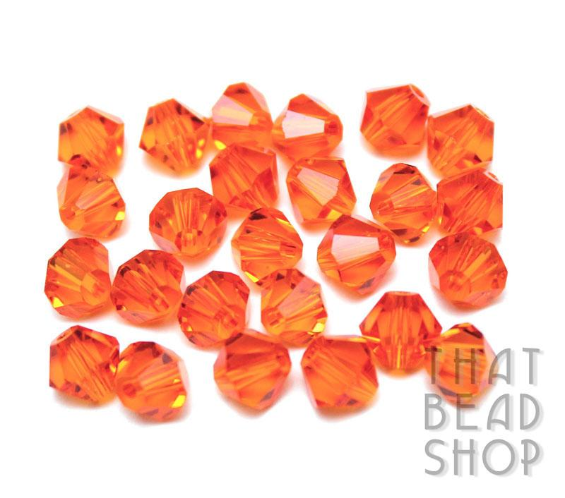 6mm Tangerine Crystal Bicone
