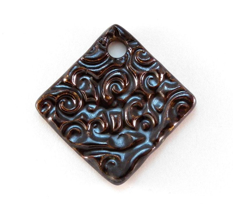 Choc Fudge Lustered Swirl Diamond Pendant - 4326