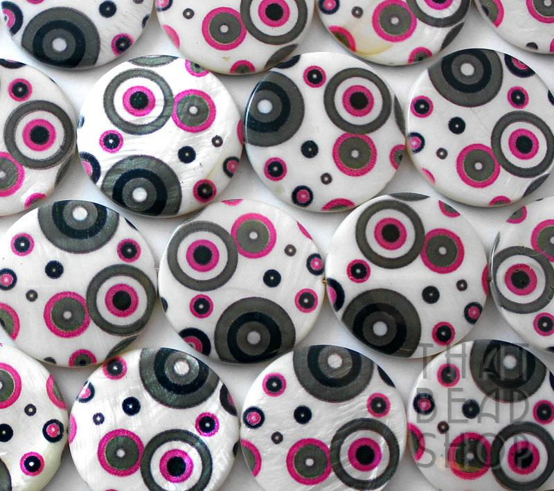 Pink and Grey Circular Printed 30mm Shell Coin