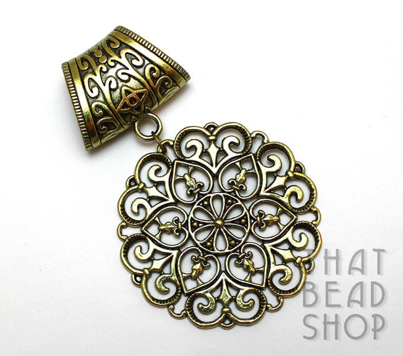Inventory scarf pendants large antique brass filigree disc scarf pendant aloadofball Choice Image