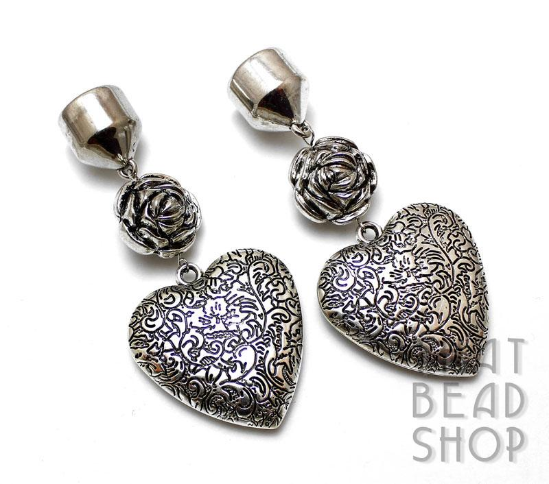 Antique Silver Floral Heart Scarf Ends