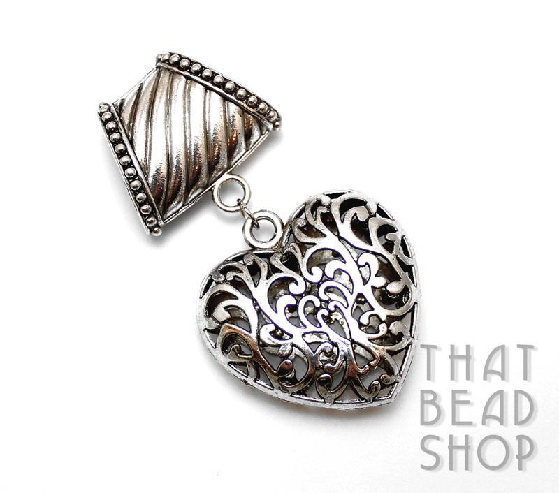 Inventory scarf pendants antique silver open cut heart scarf pendant aloadofball Gallery