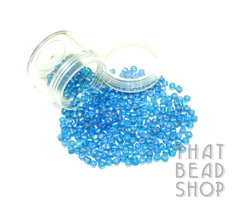 Transparent Rainbow Aqua Size 6-0 Seed Beads
