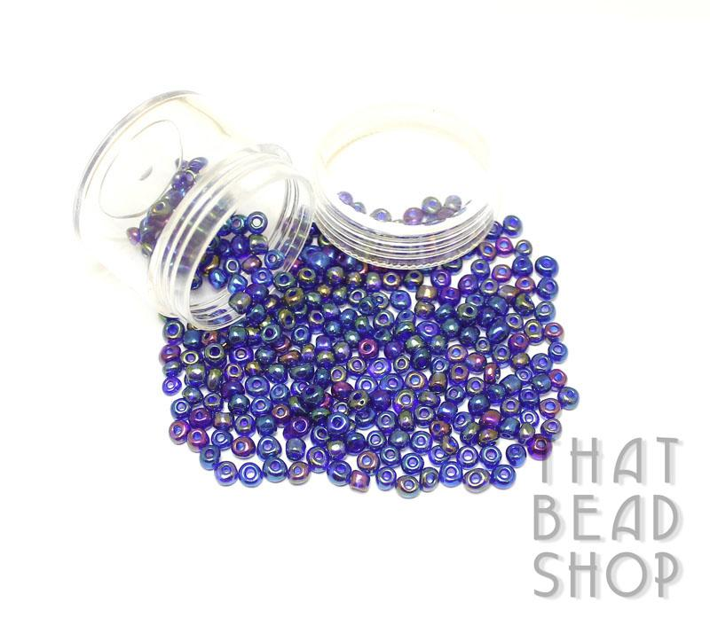 Transparent Rainbow Royal Blue Size 6-0 Seed Beads