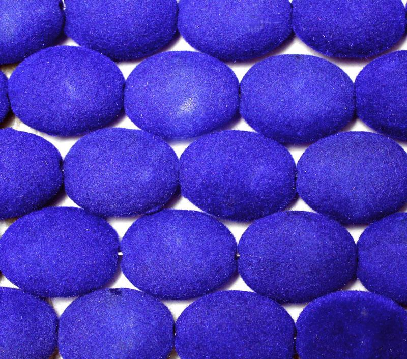 Royal Blue Velvet Coated Flat Oval - lightly covered