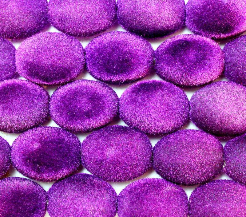 Royal Purple Velvet Coated Flat Oval