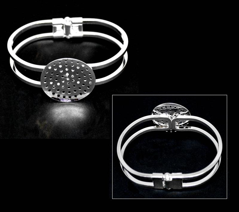 Silver Plated Hinged Cuff Frame with Perforated Disc