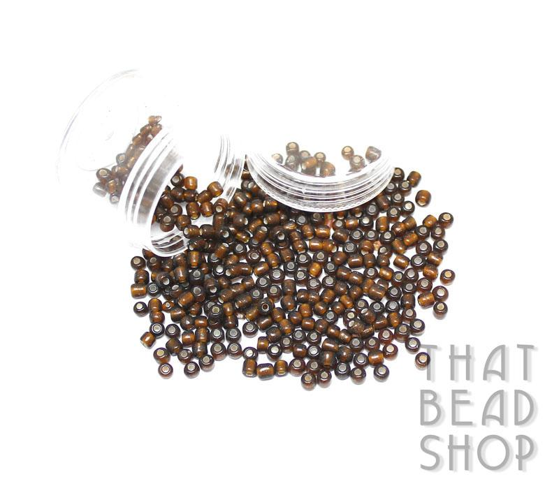 Silver Lined Dark Brown Size 6-0 Seed Beads