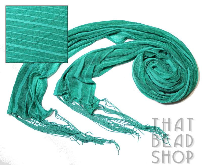Emerald Striped Silky Knit Scarf