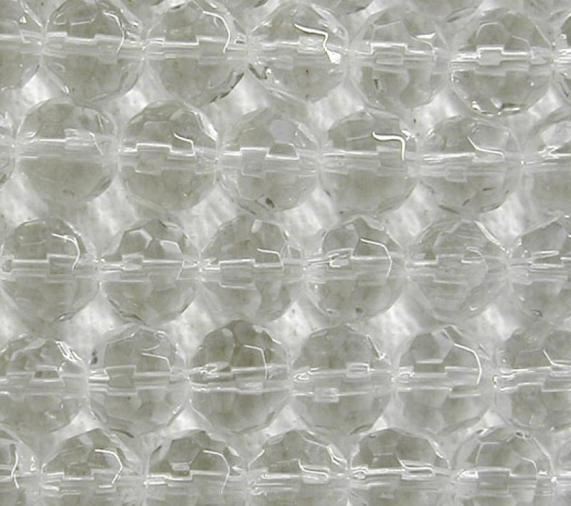 Clear 6mm Faceted Round Glass Beads