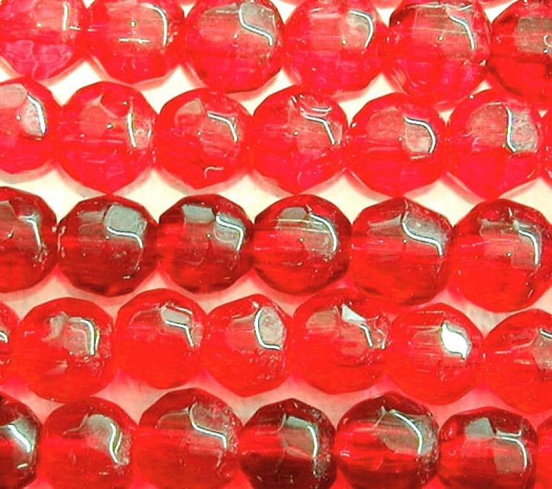 Red 6mm Faceted Round Glass Beads