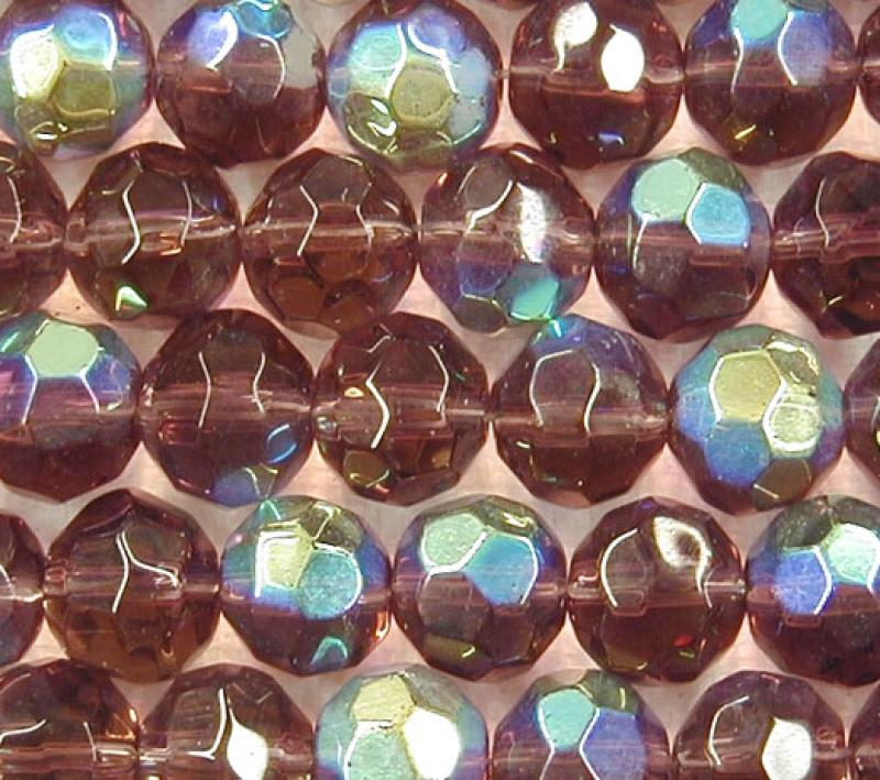 Amethyst AB Metallic 10mm Faceted Round Glass Beads