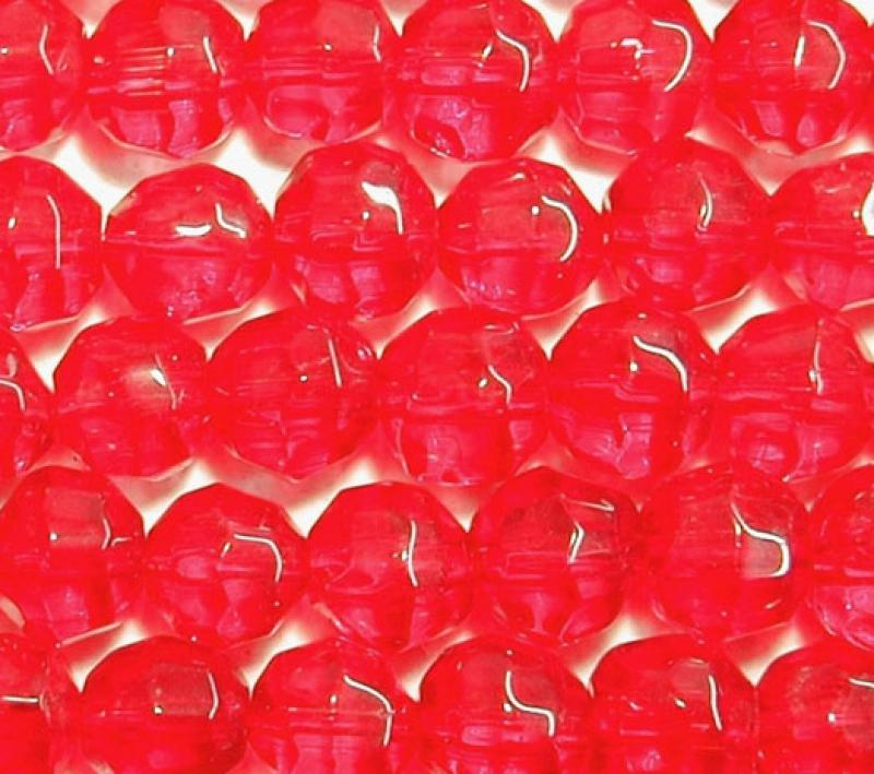 Bright Red 6mm Faceted Round Glass Beads
