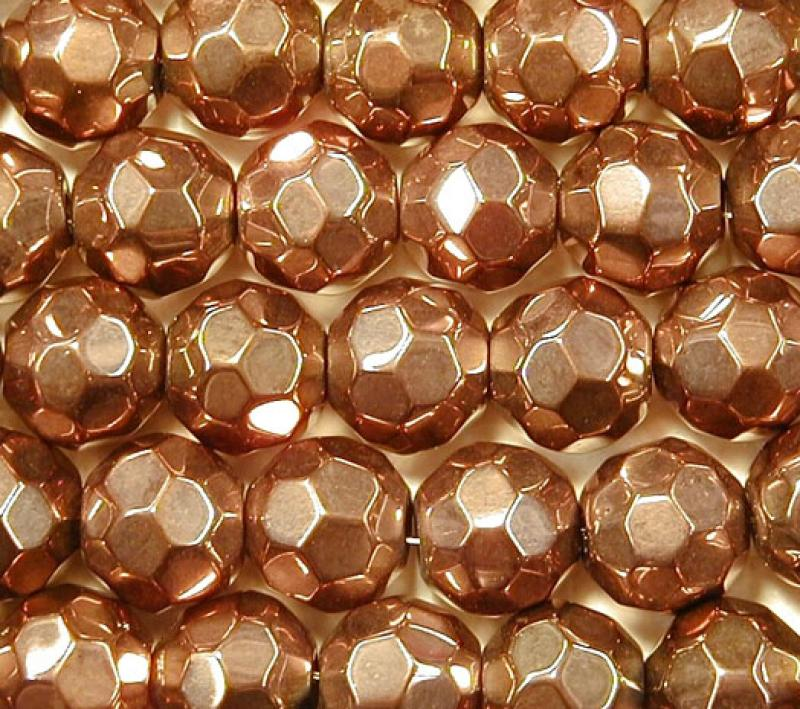 Copper Metallic 10mm Faceted Round Glass Beads