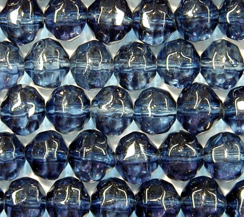Denim Blue 8mm Faceted Round Glass Beads
