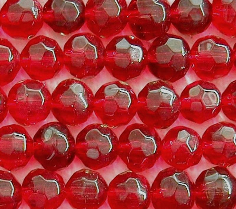 Dark Red 8mm Faceted Round Glass Beads