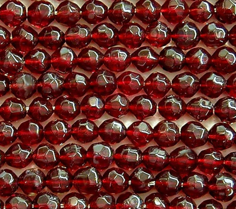 Garnet 4mm Faceted Round Glass Beads
