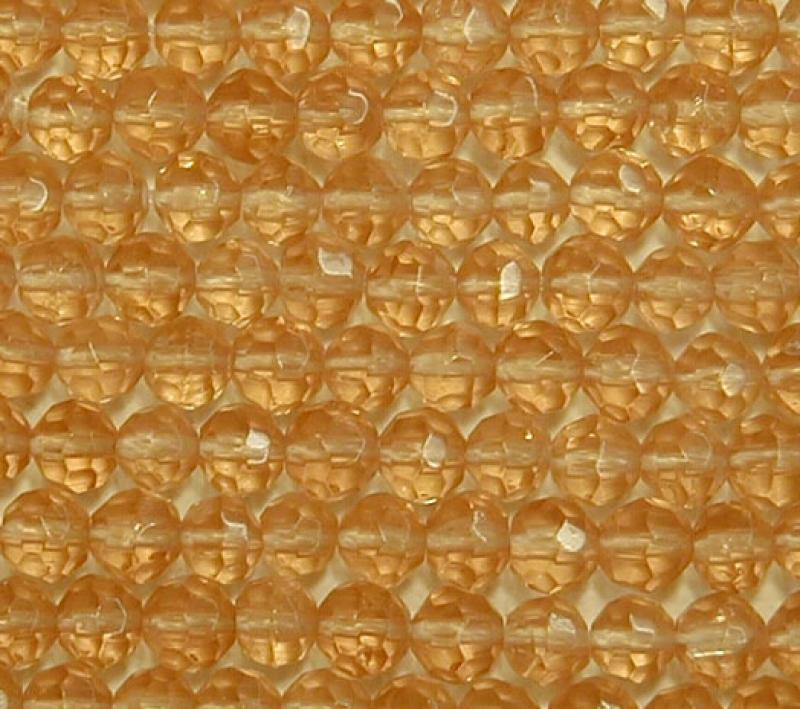 Gold 4mm Faceted Round Glass Beads