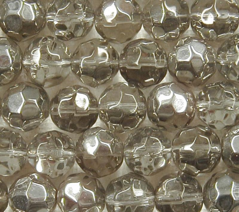 Clear Glass/Silver Metallic 10mm Faceted Round Glass Beads