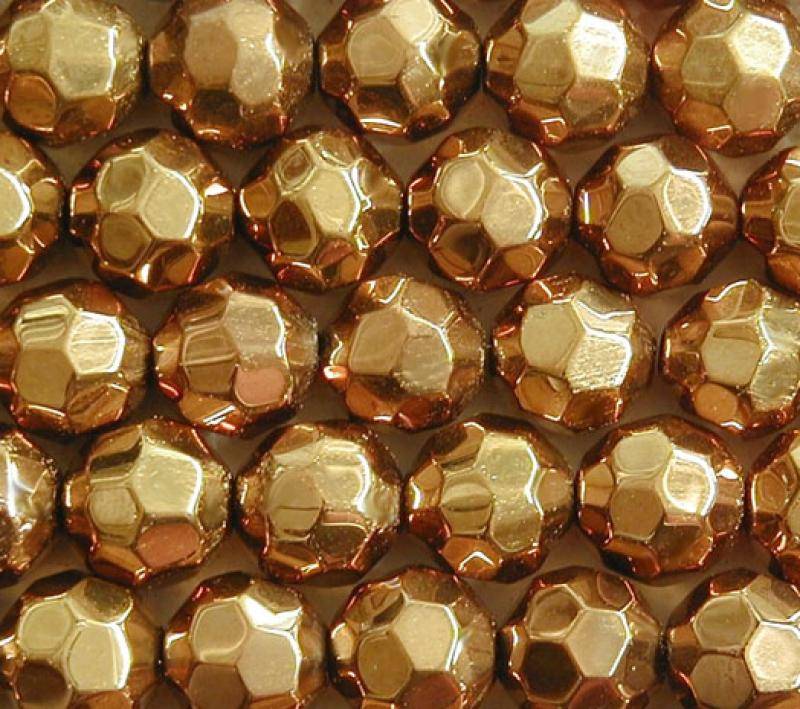 Gold Metallic 10mm Faceted Round Glass Beads