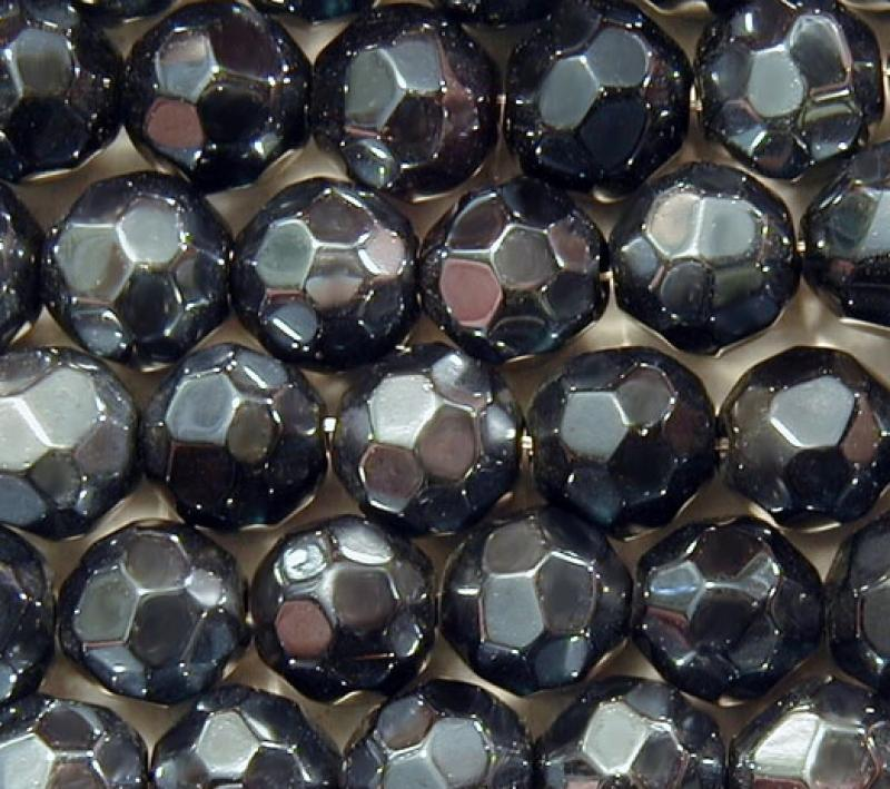 Navy Metallic 10mm Faceted Round Glass Beads