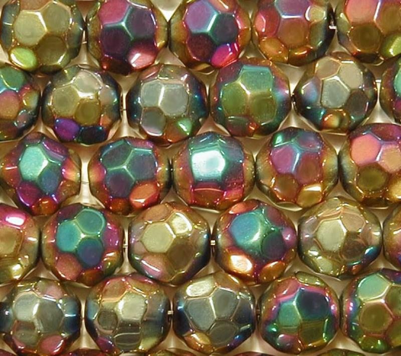 Rainbow Metallic 10mm Faceted Round Glass Beads