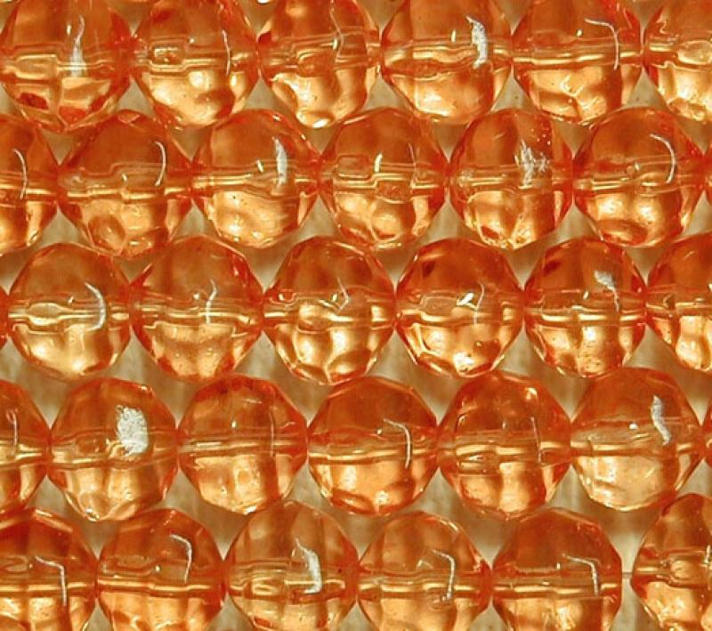 Orange 8mm Faceted Round Glass Beads