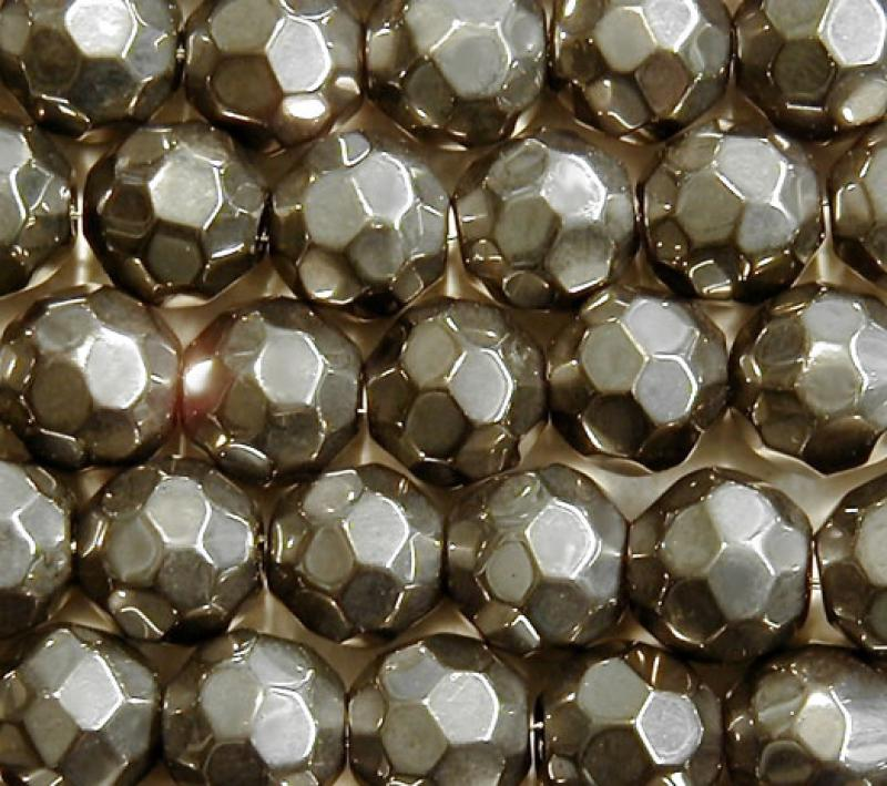 Pewter Metallic 10mm Faceted Round Glass Beads