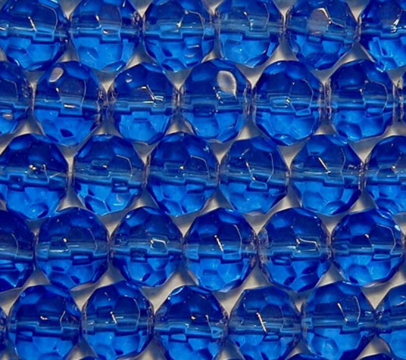 Royal Blue 8mm Faceted Round Glass Beads