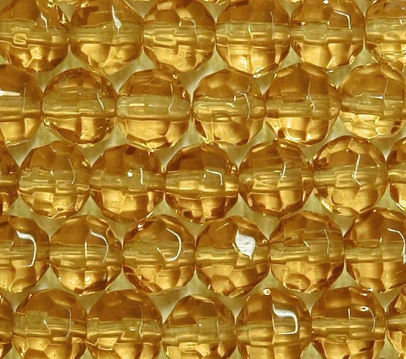 Yellow 6mm Faceted Round Glass Beads