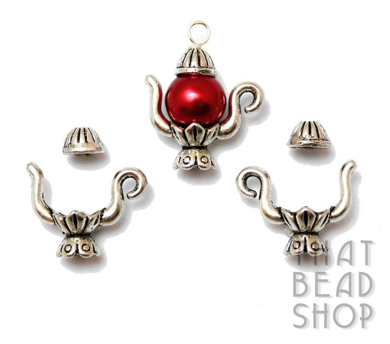 Antique Silver Grand Teapot Bead Cap Sets