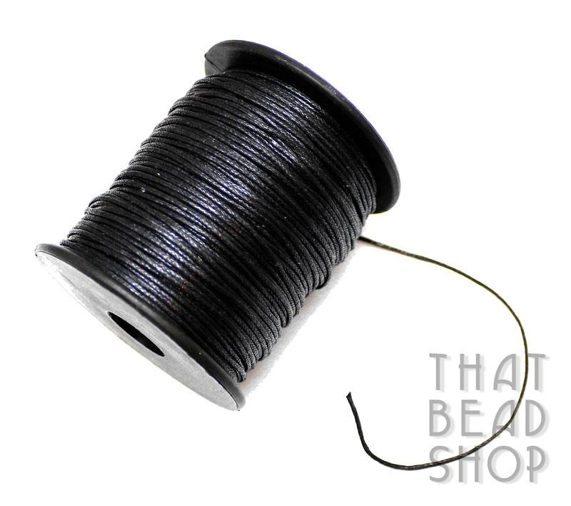 1mm Black Waxed Cotton Cord Roll - 100 Yards