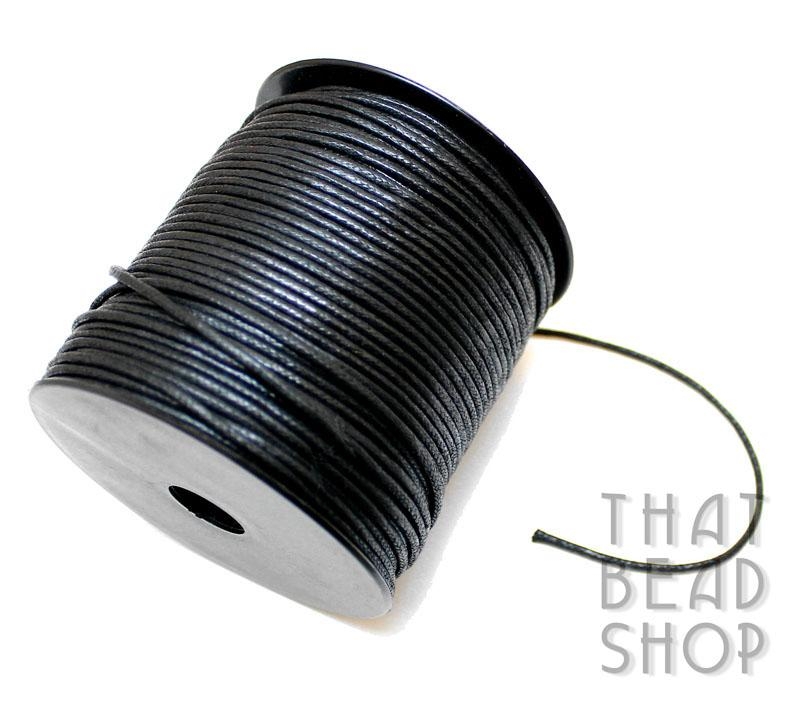 2mm Black Waxed Cotton Cord Roll - 100 Yards